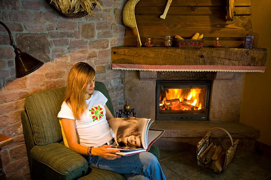 Leyendo junto a la chimenea